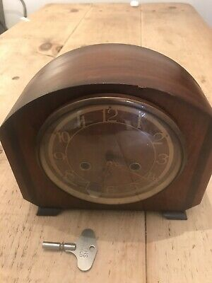 SMITHS MAHOGANY COLOURED CHIMING MANTLE CLOCK Not Running