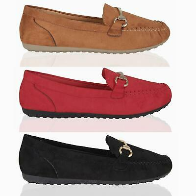 Women Ladies Faux Suede Loafers Comfy Flats Work Office Shoes Slip On Pumps Size