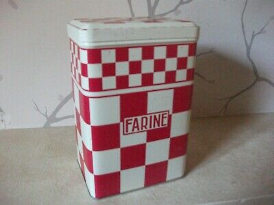 ANTIQUE X 2 TIN  Kitchen Canisters Farine & THE' French RED CREAM CHECK PAT