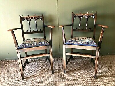 A Pair Of Victorian Arts & Crafts Carved Oak Elbow Carver Dining Hall Chairs VGC