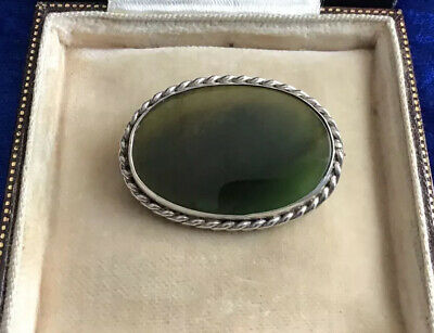 Superb Antique Victorian Solid Silver & Real Chinese Jade Set Brooch