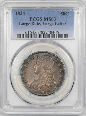 1834 Capped Bust Half Dollar - Large Date,Large Letter Pcgs Ms-63