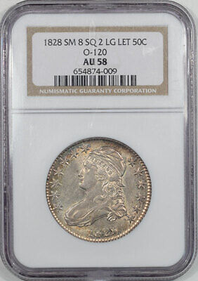 1828 Capped Bust Half Dollar - Small 8 Sq 2 Large Letters Ngc Au-58, O-120