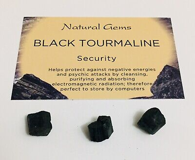 3 small 5mm Natural black Tourmaline/ Schorl  with free bag and crystal card