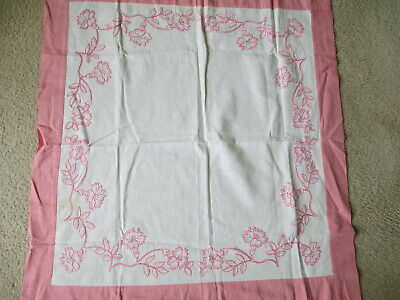Vtg Pink White Table Topper Tablecloth, Hand Embroidered, Floral Morning Glories