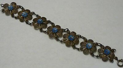 Enamel Filigree Bracelet Sterling Gold Wash Vermeil