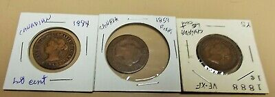 Canada Large Cents / Penny 1859, 1894 And 1888 Nice Shape