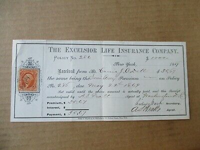 The Excelsior Life Insurance Company Epherma 1869 New York Receipt 2c Stamp