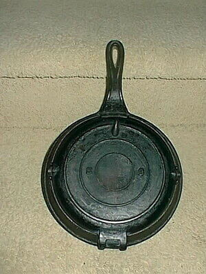 Antique Cast Waffle Iron No Name #68 & Base Vintage Old Cooking Hinged Tool
