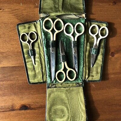 Cased Set Of 5 Antique Victorian Celluloid Handled Scissors