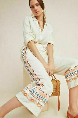 NEW Anthropologie Women's Islander Cream Linen Embroidered Culotte Pants Size 0