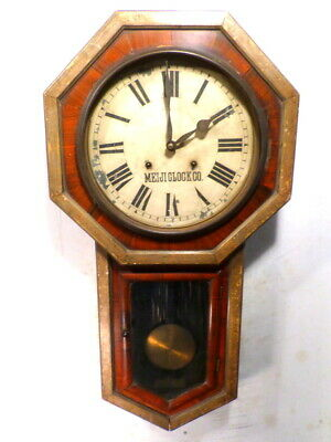 """Antique 32"""" Striking Wall Clock With Original 2 Tone Gilded & Painted Grain Case"""