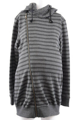 Kimi+Kai Maternity Selena gray black M 8 10 hooded zip sweatshirt top NEW $78