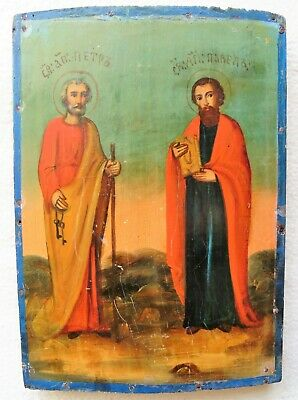 "Antique Russian Icon of ""Saints Peter and Paul"". 19th Century."