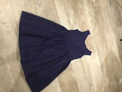 Marks & Spencer  Girls Broderie Anglaise Navy Summer Dress Age  8/9 Years