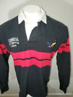 Guinness Black/Red Long Sleeve Rugby Polo Mens Large Embroidered Toucan