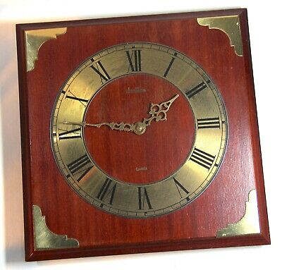Vintage Square Wooden and Brass Bentima Quartz Wall Clock with Roman Numerals