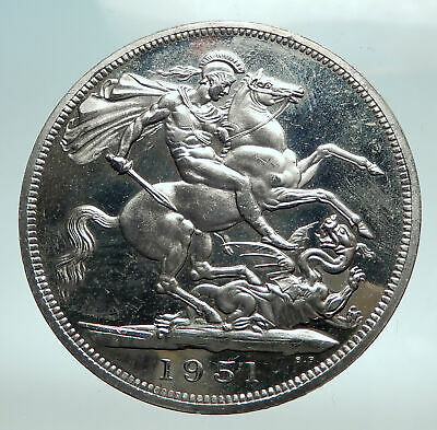 1951 United Kingdom UK Great Britain GEORGE VI Horse Silver 5 Shilng Coin i82495