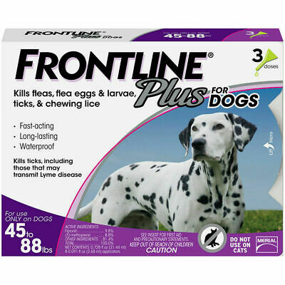 Frontline Plus for Large Dogs (45 - 88 Lbs) (3 Pack) 3 Doses, 3 Months Supply!