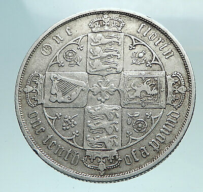 1883 UK Great Britain United Kingdom QUEEN VICTORIA Florin Silver Coin i82534