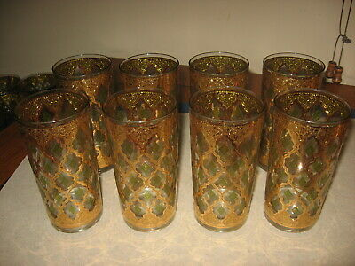 Vintage Hollywood Regency Style Culver Glassware Set 8 Tall Glasses Valencia