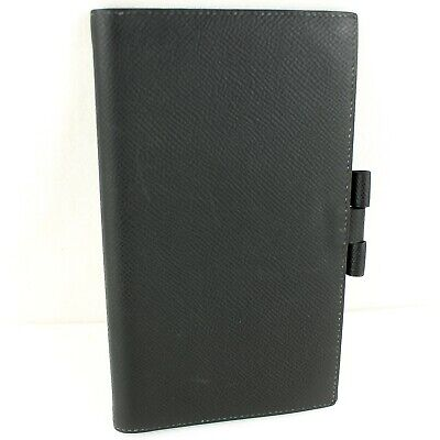 Auth HERMES AGENDA VISION Notebook Day Planner Cover Leather Black