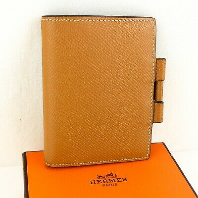 Auth HERMES AGENDA PM Notebook Day Planner Cover Leather Gold Brown with Box
