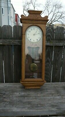 new haven clock co. wall regulator clock golden oak