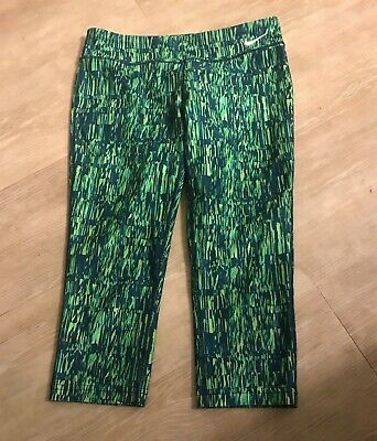Nike Dri Fit M 10 - 12 girls shades of green capri workout fitted pants