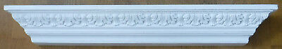 Ornate Antiqued White Floating Wall Shelf Crown Molding Mantel Foam 36 Inches