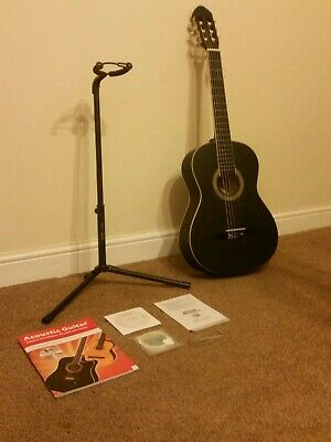 "NEW! Black 39"" Full Size 4/4 6 String Steel Strung Acoustic Guitar With Stand"