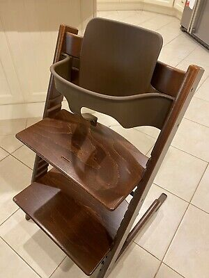 Stokke Tripp Trapp high chair with baby seat, Walnut.  Pick up only.