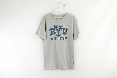 Vintage Champion Mens Small Brigham Young University BYU Spell Out T-Shirt Gray
