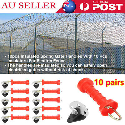 10pcs INSULATED ANCHOR PLATE GATE HANDLE SPRING ELECTRIC FENCE POST INSULATOR