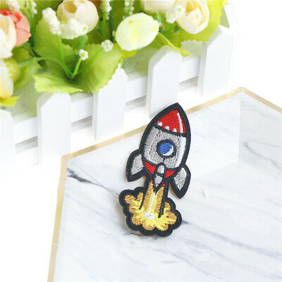 rocket cloth badges diy embroidered iron/sewing on patchOSE