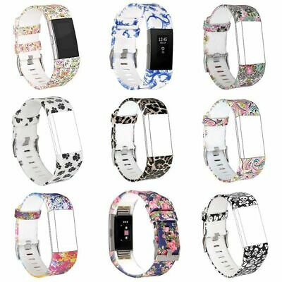 New Wrist Straps Silicon Printed Replacement Watch Band For Fitbit Charge 2 AAA