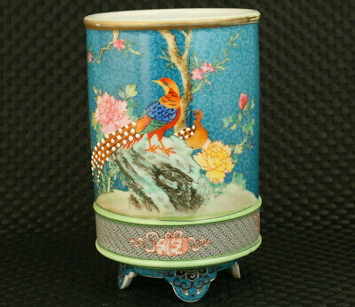 chinese colour enamels porcelain hand painting phoenix statue brush pot / vase