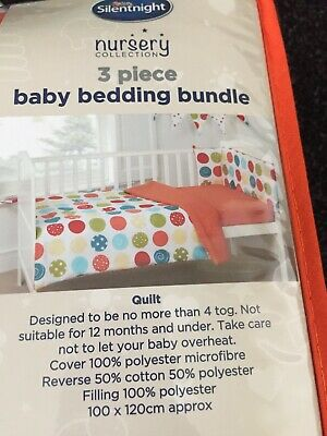 Brand NEW SILENT NIGHT 3 Piece COT/COT BED Bedding Bundle nursery set baby