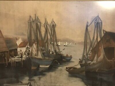 Vintage,Original Gouache/Opaque Water Paint Seascape Painting,At Portside, Large