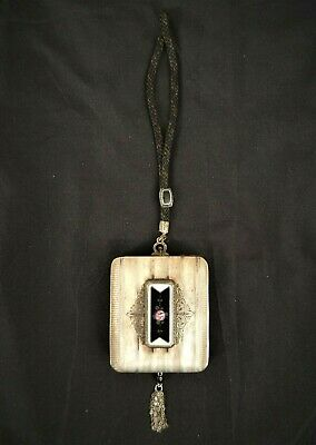 Antique Art Deco Sterling Silver Enamel Guilloche Compact Dance Purse Hand Paint