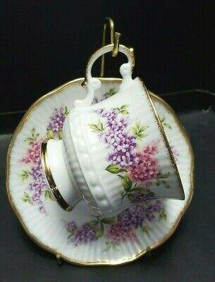Elizabethan Demitasse Footed Cup And Saucer Purple And Pink Floral Gold Gilt