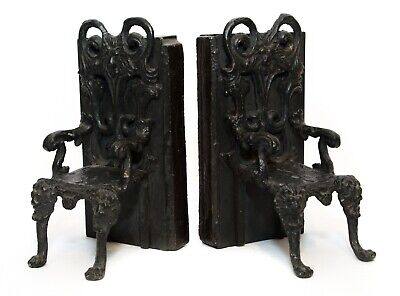 Vintage Cast Iron Lion Head Claw Foot Chair Shaped Bookends Black Gothic Style