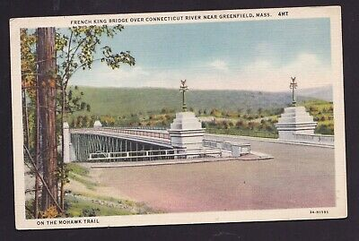 Old Vintage Postcard of BRIDGE OVER CONNECTICUT RIVER NEAR GREENFIELD MA