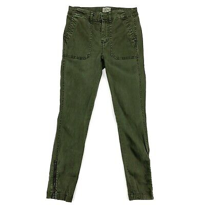 J Crew Pants 25 Skinny Slim Ankle Stretch Cargo Olive Green Zippers F9469