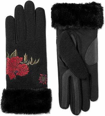 Isotoner Touchscreen Boiled Wool & Spandex Gloves with Faux-Fur Cuff Size S/M