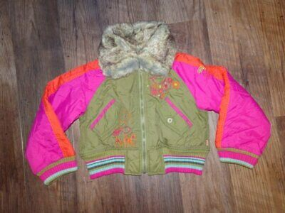 Oilily Jacket Coat Embroidered Fur Collar Bomber Girls 104 4 5 Hardly Worn