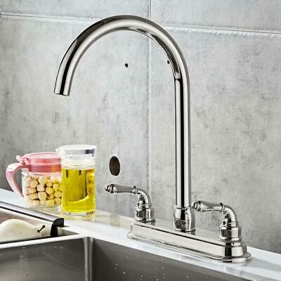 Stainless Steel 2-handle Kitchen Fixed Faucet Dual Hole Home Sink Water Tap