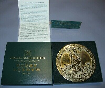 Virginia Metalcrafters- Seal Commonwealth Of Virginia Trivet - Solid Brass Boxed