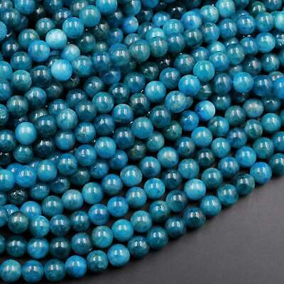 "AA Natural Teal Blue Apatite Round Beads Polished Teal Gemstone Beads 16"" Strand"