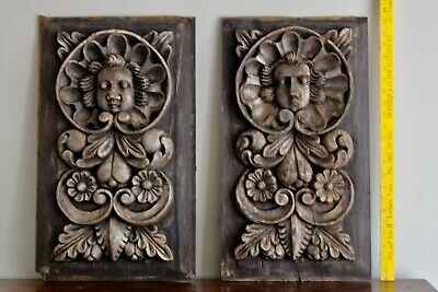 Pair Antique Hand Carved Wooden Angel Cherub Architectural Fragment Panels 23""